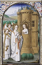 St. Avia of Paris in prison receives a host from Mary - Book of hours Simon de Varie - KB 74 G37a - 018v min.jpg