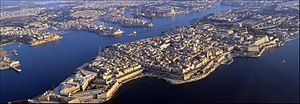 Valletta - Aerial view showing the exterior and interior outlines of Valletta