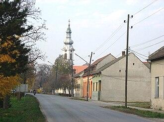 Stapar - The main street and the Orthodox church.