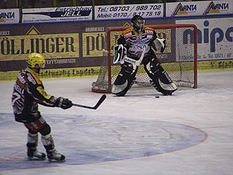 EV Landshut - Stefan Horneber and T. J. Guidarelli in the Cannibals dress