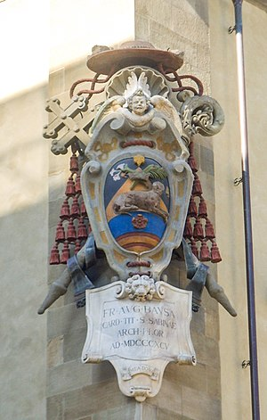 Ecclesiastical heraldry - Coat of arms of Cardinal Agostino Bausa in the courtyard of the archiepiscopal palace of Florence