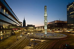 Sergels torg - Sergels torg viewed from Malmskillnadsgatan with Kulturhuset and Stockholm City Theatre (to the left) at night.