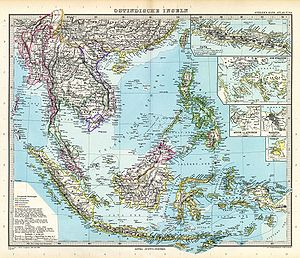 Adolf Stieler - Map of Southeast Asia, printed in Stielers Handatlas.
