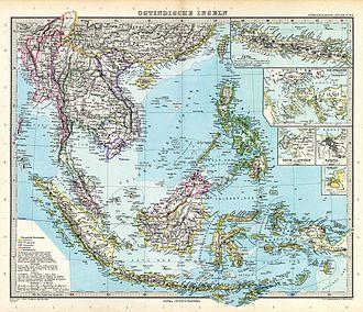 Adolf Stieler - Map of Southeast Asia, printed in Stielers Handatlas.