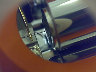 Scanning tunneling microscope - A close-up of a simple scanning tunneling microscope head using a platinum–iridium tip.
