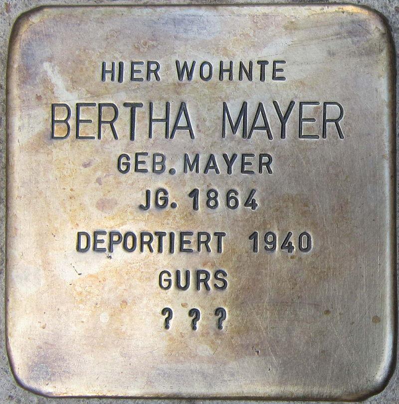 Stolperstein Böchingen Mayer Bertha geb Mayer.jpeg