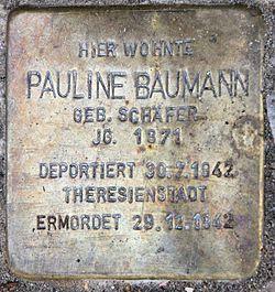 Photo of Pauline Baumann brass plaque