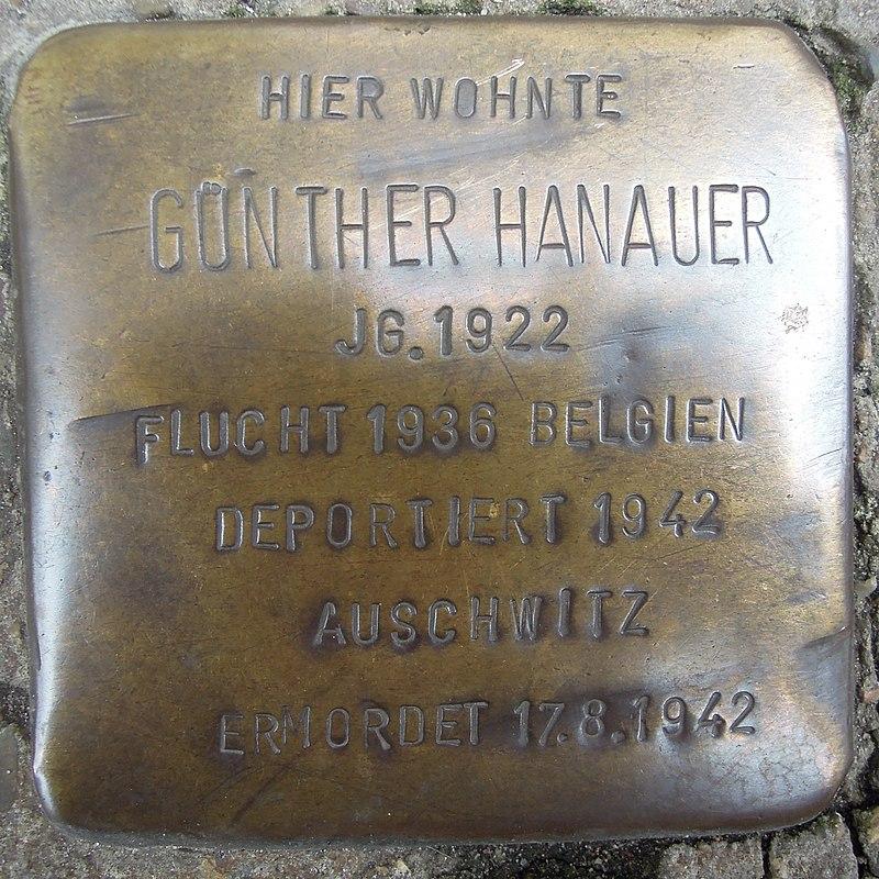 Stolperstein Lingen Gymnasialstraße 1 Günther Hanauer.jpg