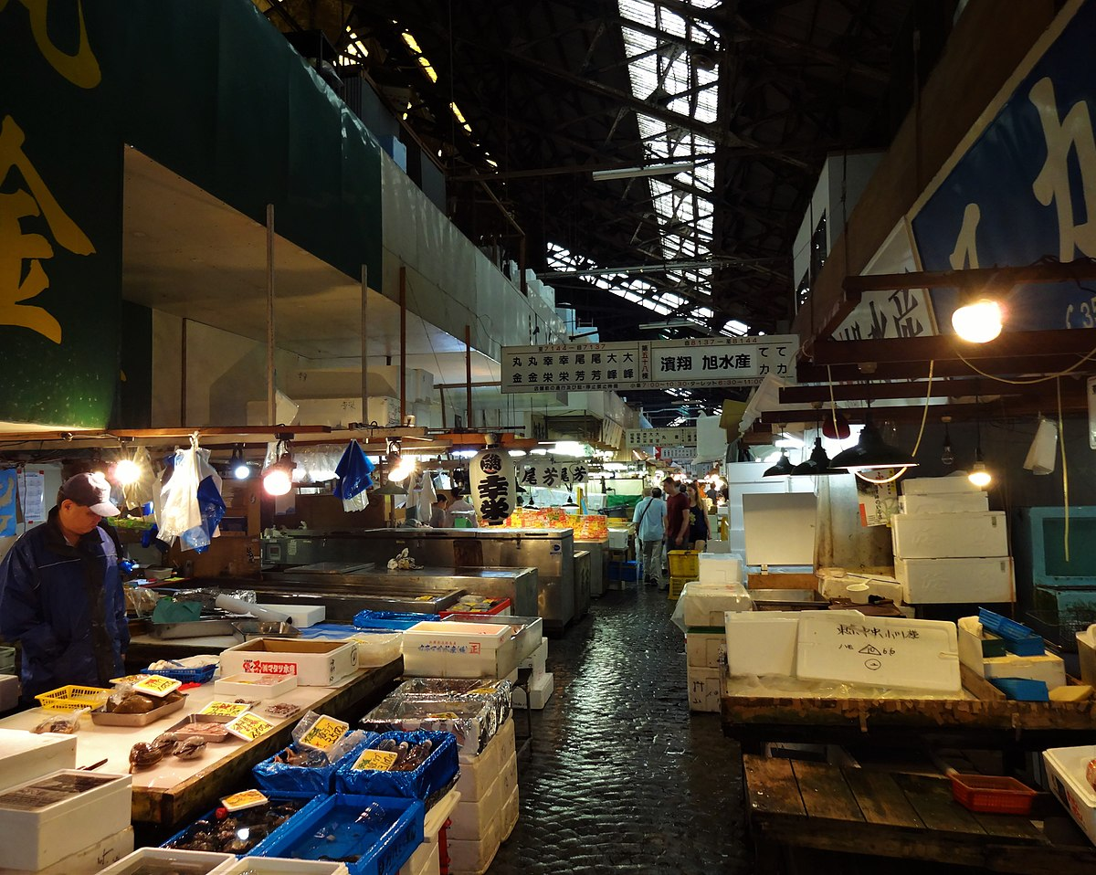 Storage and selling aisle at the Tsukiji fish market, Tokyo, Japan.jpg