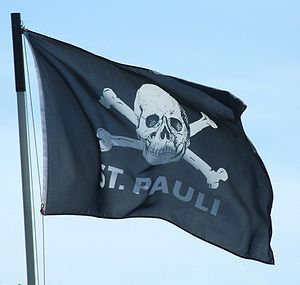 FC St. Pauli - The Skull and crossbones symbol on a supporter flag.