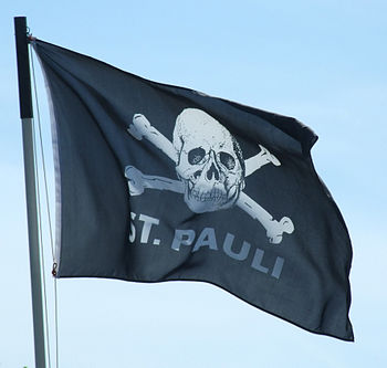 0165fc90481 The Skull and crossbones symbol on a supporter flag.