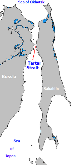 Strait of Tartary - The Strait of Tartary connects the Sea of Okhostsk to the Sea of Japan.