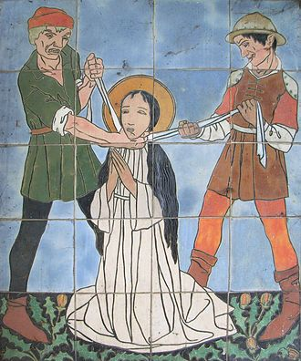 Godelieve - The Strangulation of Godelina.  Image in Procession Chapel in Gistel, Belgium.