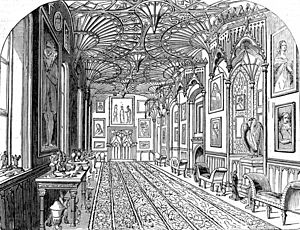 Cambridge Camden Society - The gallery at Strawberry Hill, showing Gothic revival architecture
