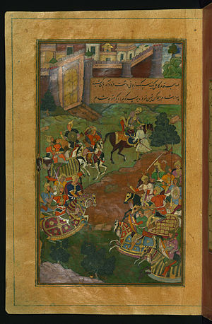 Sultan Muhammad (Badakhshan) - Sultan Muḥammad Vays offers Babur a healthy horse to replace his ailing one