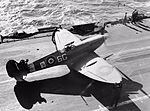 Supermarine Seafire Mk IIc of No. 885 Naval Air Squadron on the flight deck of HMS FORMIDABLE in the Mediterranean, December 1942. A14219.jpg