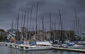 Sydney to Hobart Yacht Race - The calm before the storm. Sydney to Hobart entrants moored up at Rushcutters Bay, Christmas Day, 2004.
