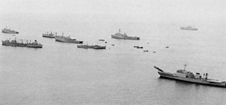 Operation Frequent Wind - Ships of TF 76 wait off Vung Tau for the start of the operation