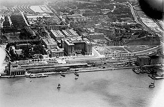 Whitfield Barracks - Aerial view of Tsim Sha Tsui in the 1930s. Whitfield Barracks are visible in the top left area.
