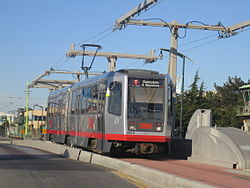 A light rail vehicle on the T Third Street line. The T line, the sixth Muni Metro line, opened on April 7, 2007.
