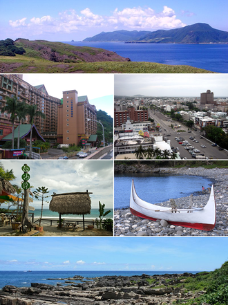 Taitung County - Top:View of Orchild Island, from Ji-teiwan, Second left:Jiben Spa area, Second right:A view of downtown Taitung, Third left:View of White Sand Bay in Taimali Township, Third right:A memorial for Yami people's boat in Orchild Island, Bottom:A coast of Siaoyeliou