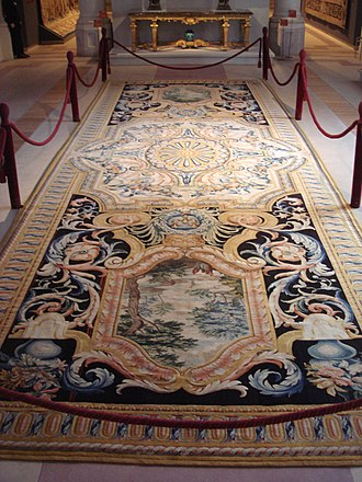 Savonnerie manufactory - Grande Gallerie du Louvre carpet, No69, made in the Savonnerie between 1670 and 1685. On display at the Gobelins Manufactory.