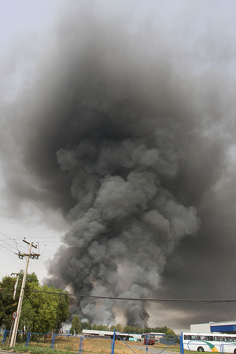 Fire in a plastic factory, in Ruta 5 Norte.