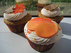 Pumpkin cupcake filled with pecan pie filling ...