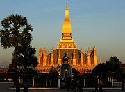 Pha That Luang - The Golden Stupa, national symbol of Laos, at sunset