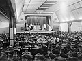 The Archbishop of Canterbury conducts a service in the cinema at Flotta on Orkney during his visit to the Home Fleet at Scapa Flow, 6 September 1942. A11549.jpg