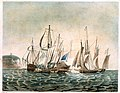 The Cumberland Merchant Ship engaging 4 French Lugger Privateers off Folkestone, on 13th Jany 1811 D6595.jpg