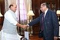 The Governor of Andhra Pradesh and Telangana, Shri E.S.L. Narasimhan calling on the Union Home Minister, Shri Rajnath Singh, in New Delhi on March 15, 2017.jpg