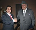 The Minister for Internal Affairs and Communications, Japan, Mr. Kazuhiro Haraguchi calls on the Union Minister of New and Renewable Energy, Dr. Farooq Abdullah, in New Delhi on January 06, 2010.jpg