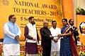 The President, Shri Pranab Mukherjee presenting the National Award for Teachers-2015 to Smt. R.C. Parvatamma (Karnataka), on the occasion of the 'Teachers Day', in New Delhi.jpg