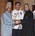 The President, Shri Pranab Mukherjee presenting the Padma Shri Award to Ustad Ghulam Mohammad Saznawaz, at an Investiture Ceremony-II, at Rashtrapati Bhavan, in New Delhi on April 20, 2013.jpg