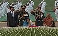 The President, Smt. Pratibha Devisingh Patil paying floral tributes at the Samadhi of former Prime Minister, Pandit Jawaharlal Nehru on his 120th birth anniversary, at Shantivan, in Delhi on November 14, 2009.jpg