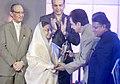 """The President, Smt. Pratibha Devisingh Patil presenting the """"Life Time Achievement Award"""" of Lokmat Maharastrian for the Year 2011 to Shri Dilip Kumar, in Mumbai on December 21, 2011.jpg"""