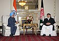 The President of High Peace Council of Afghanistan, Professor Burhanuddin Rabbani calls on the Prime Minister, Dr. Manmohan Singh, in Kabul on May 13, 2011.jpg