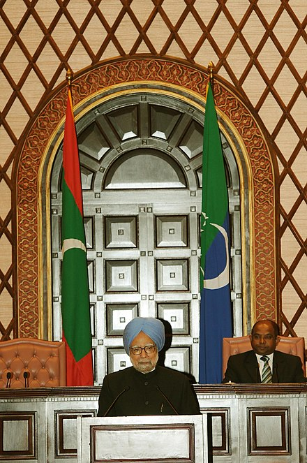 The Prime Minister of India addressing the People's Majlis in 2011 The Prime Minister, Dr. Manmohan Singh addressing at the People's Majlis, at Male, in Maldives on November 12, 2011.jpg
