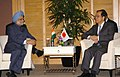 The Prime Minister, Dr. Manmohan Singh meeting with the Japanese Prime Minister, Mr. Yasuo Fukuda, on the sideline of 6th India-ASEAN & 3rd East Asia Summit, in Singapore on November 21, 2007.jpg
