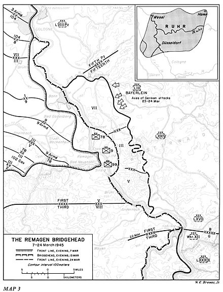 battle of remagen wikiwand  map of the remagen bridgehead 7 24 march 1945
