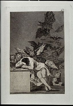 The Sleep of Reason produces monsters. Etching by Goya 1796 Wellcome V0025828