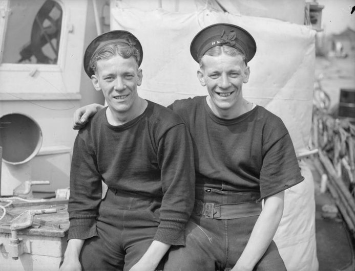 The Terrible Twins- They Man Twin Turrets. 5 May 1943, Yarmouth, 24 Year-old Thomas and Ernest Barber of Plaistow, Who Man Twin Turrets in One of Our Light Coastal Craft Which Took Part in the Recent Attack on A16357.jpg