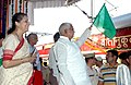 The Union Minister for Railways Shri Lalu Prasad flagging off a special train 'Mahaparinirvan' for Buddhist Pilgrimage from India and abroad, particularly from South Asian countries to promote tourism, in New Delhi.jpg
