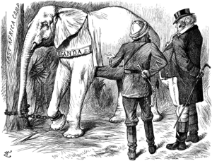 Uganda Protectorate - Punch cartoon depicting the Uganda personified as a White elephant which the East Africa Company is attempting to sell to Britain (1892).