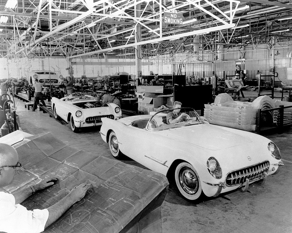The first Corvettes produced in Flint, Michigan on June 30, 1953 assemble line