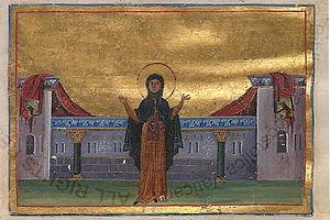 Theodora of Alexandria - Miniature of St. Theodora in the Menologion of Basil II (11c.)