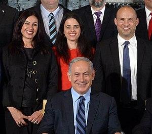 Miri Regev - Miri Regev (left) alongside Prime Minister Netanyahu, Ayelet Shaked (center) and Naftali Bennett (right)