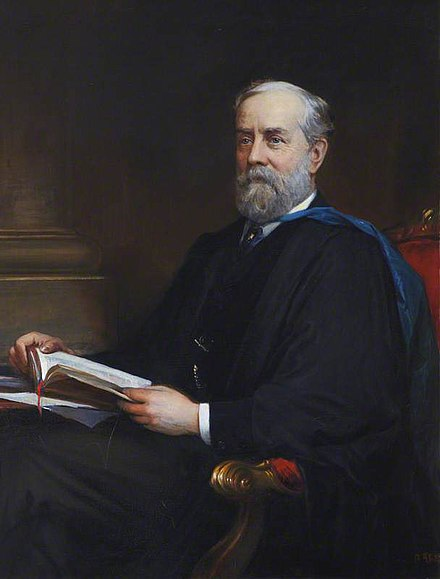 Portrait of Thomas Spencer Baynes, editor of the 9th edition. Painted in 1888, it now hangs in the Senate Room of the University of St Andrews in Scotland. Thomas Spencer Baynes.jpg
