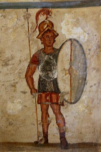 Fresco of an ancient Macedonian soldier (thorakites) wearing chainmail armor and bearing a thureos shield, 3rd century BC, Istanbul Archaeology Museums Thueros affresco.jpg